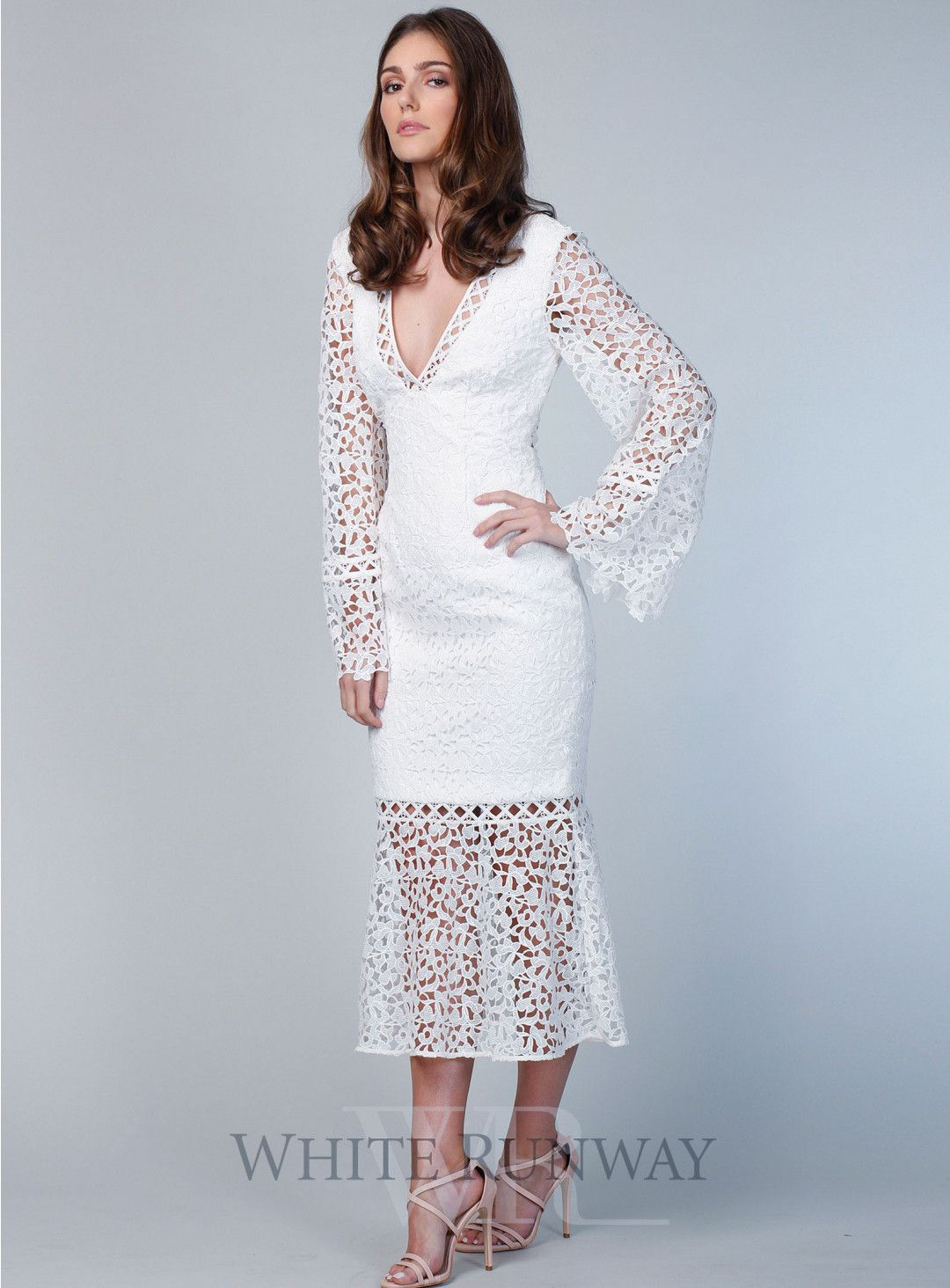 29f6022af318 Uplifted Long Sleeve Midi Dress. A beautiful midi length dress by Keepsake  the Label. A deep V-neck style featuring sheer lace panelling on the skirt  and ...