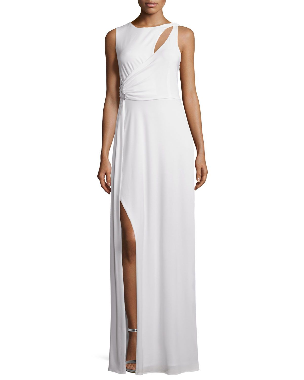 Neiman marcus dresses for weddings  Halston Heritage Sleeveless Draped Gown WCutouts Bone Ivory