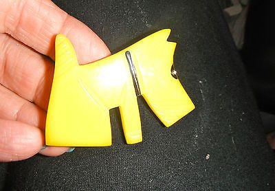 yellow vintage lucite scottie scotty westie terrier dog pin paint rhinestone eye