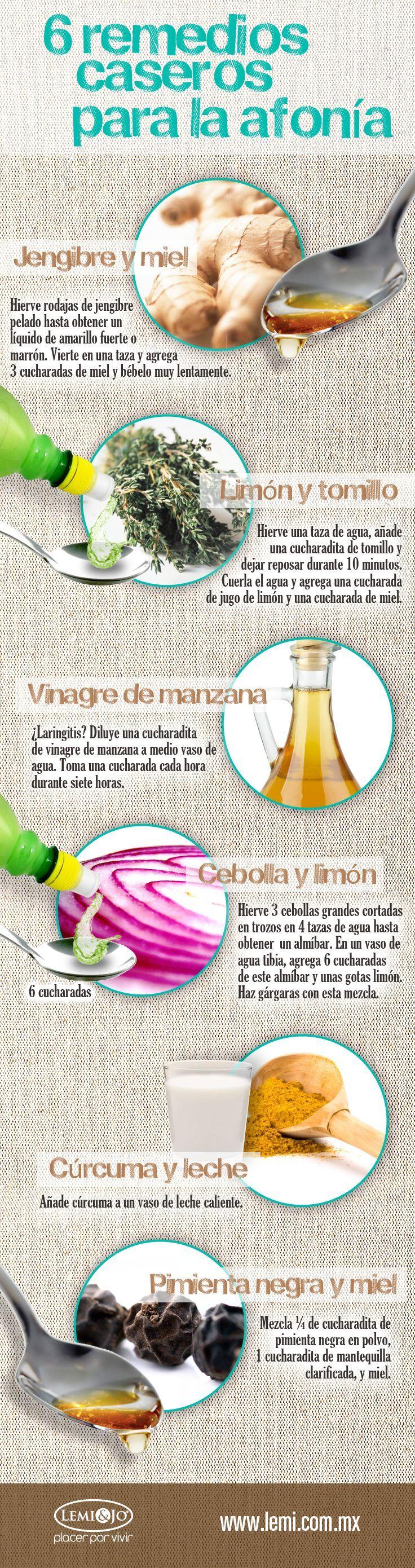 Como Curar La Afonia 6 remedios caseros para la afonía. #infografia #salud