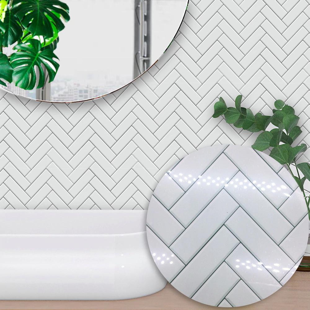 Funlife Kitchen Backsplash Wall Tile Sticker Waterproof Peel Stick Marble Tiles Adhesive Bathroom S Stick On Tiles Herringbone Tile Bathroom Herringbone Tile