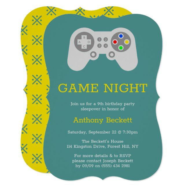 Modern Gamer Birthday Party Invitations
