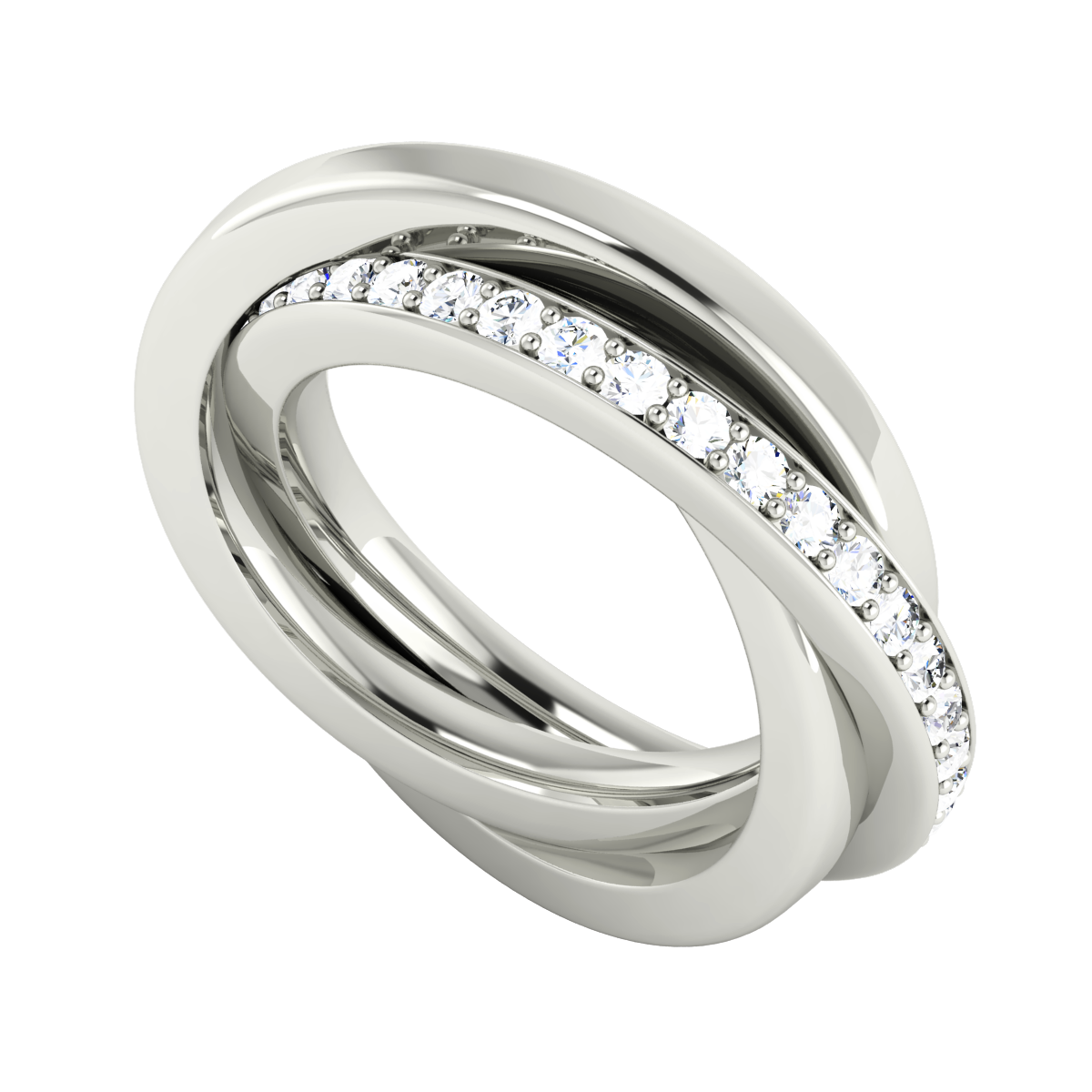 Diamond Russian Wedding Ring 9ct White Gold Russian wedding