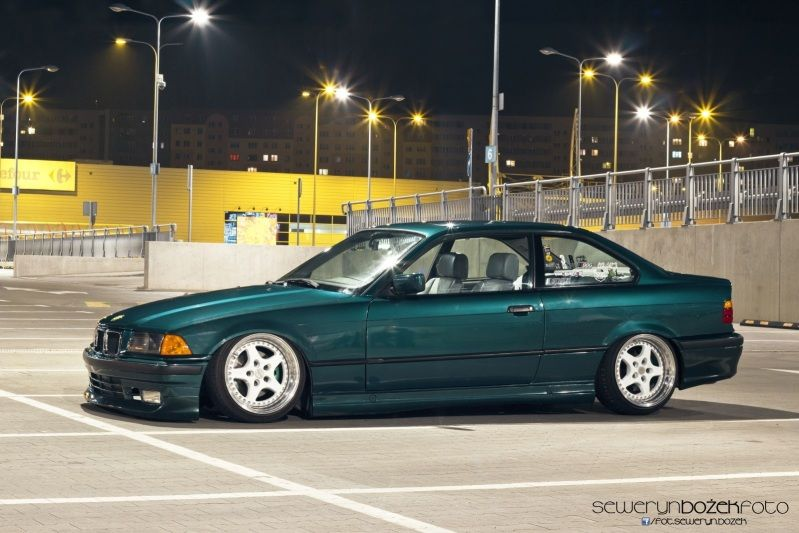 Laguna Green #BMW #E36 with #RacingDynamics front lip spoiler, side skirts and rear apron.