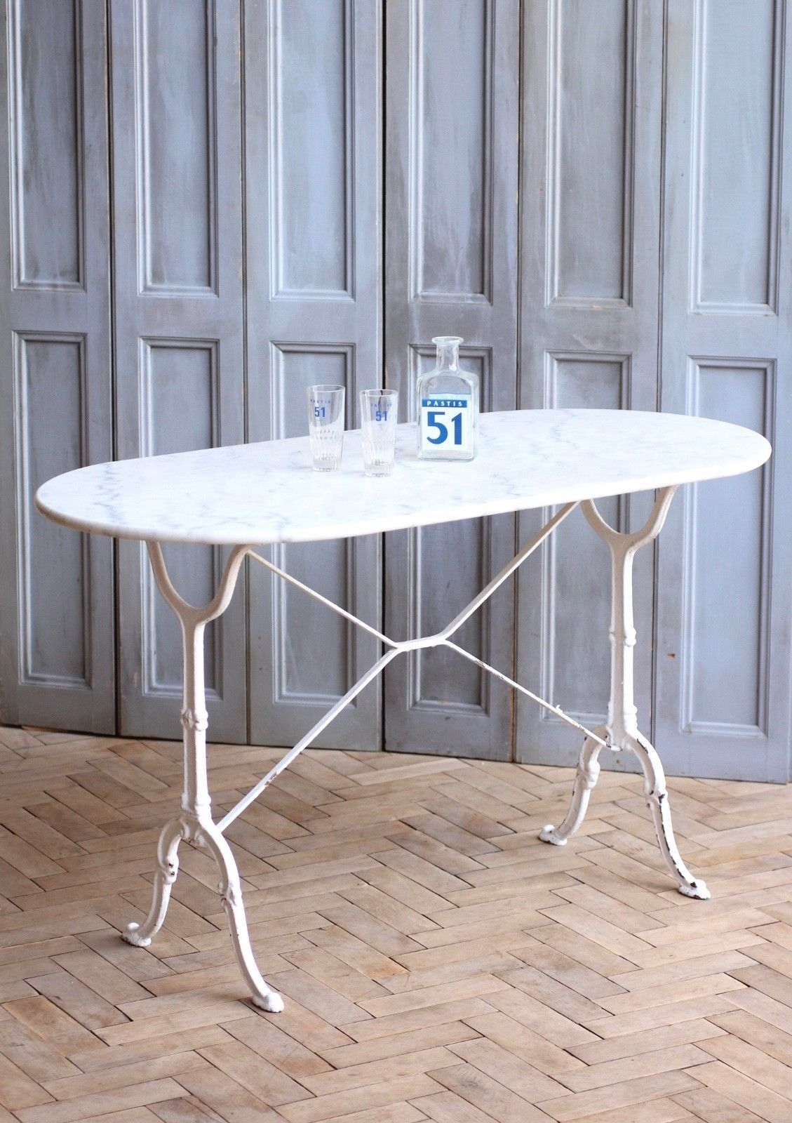Antique French Marble Top Garden Table With Cast Iron Base Garden Table Summer Furniture Marble Top