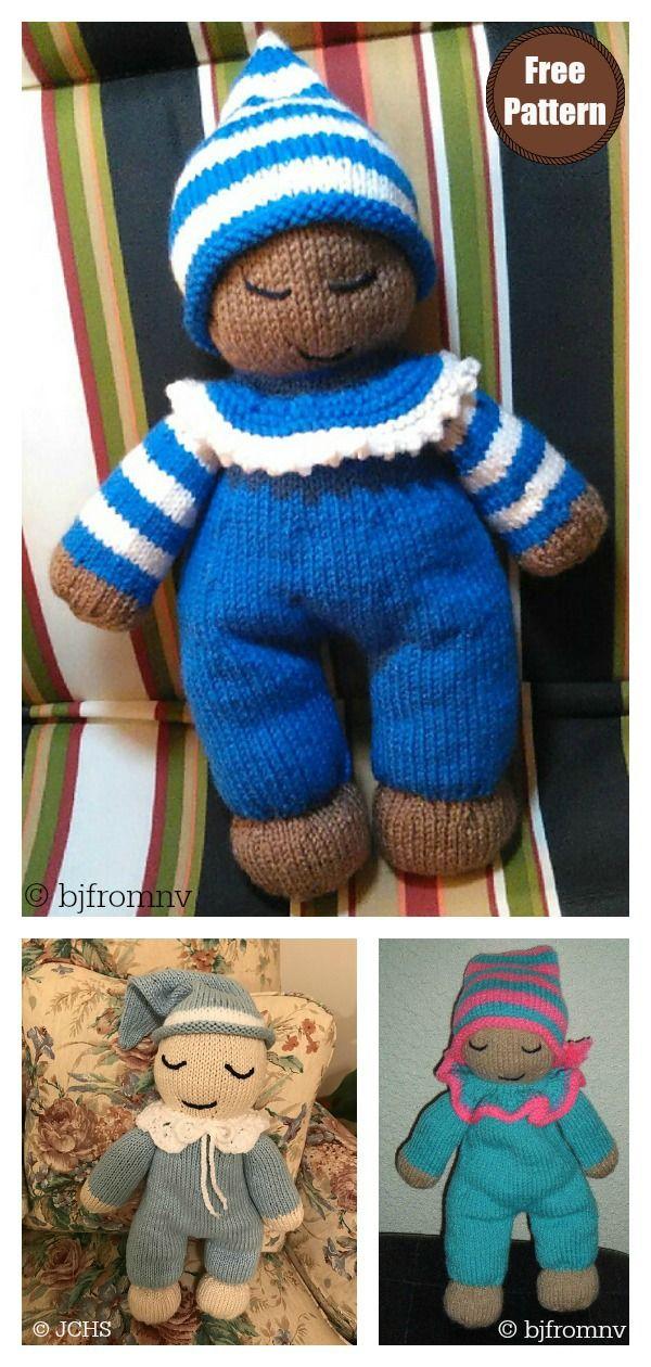 Sleepy Baby Doll Free Knitting Pattern and Paid #knitteddollpatterns