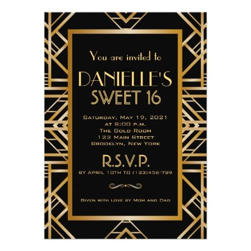 Great Gatsby Inspired Art Deco Sweet 16 Invitation Sweet 16