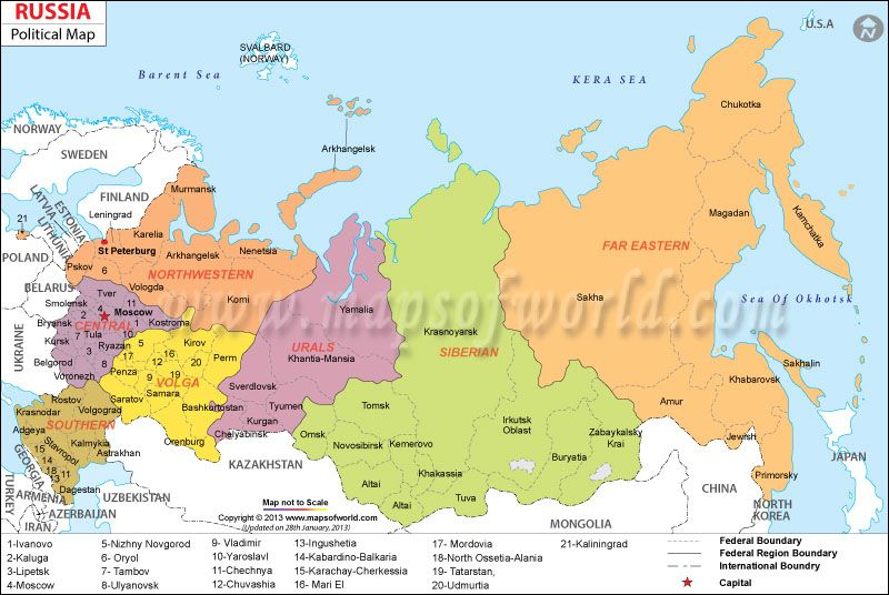Political Map of Russia and its Proximity to Lithuania Map