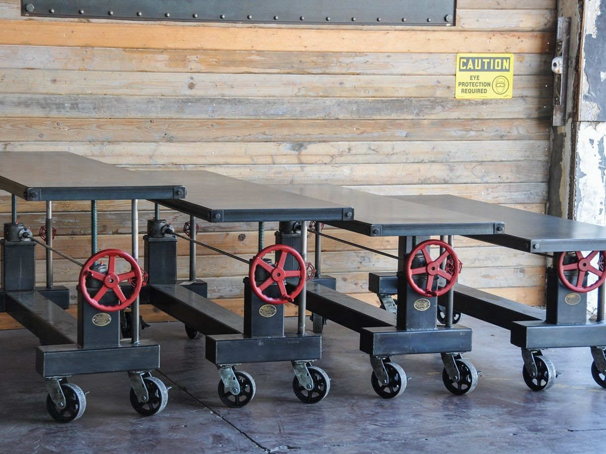 Factory caster vintage industrial furniture - 4 Crank Tables Going To The Warhol Museum By Vintage Industrial In Phoenix