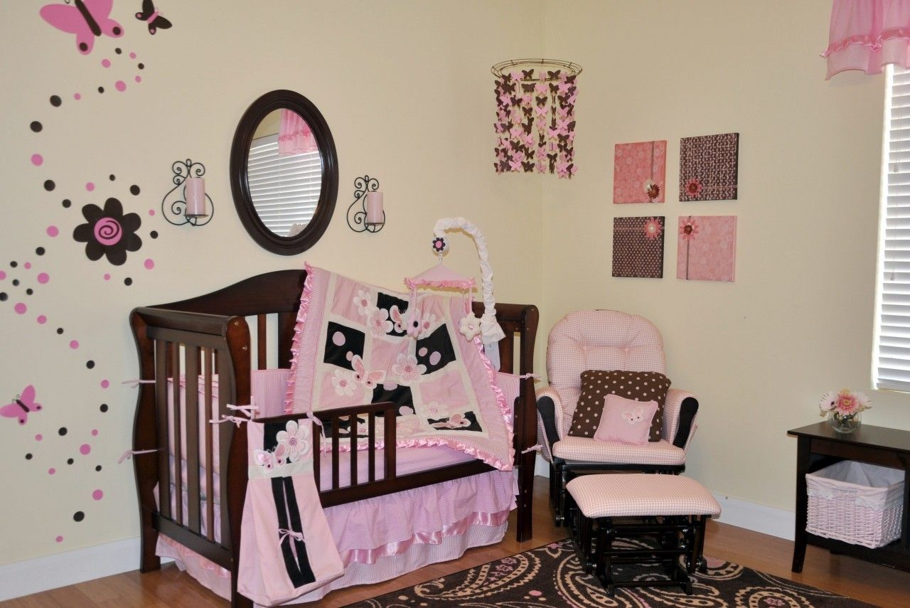 9pc Pink & Brown Sweet Butterfly Crib Bedding Nursery Set - Who doesn't love butterflies? Let this unique butterfly nursery bedding brighten up your childs room.