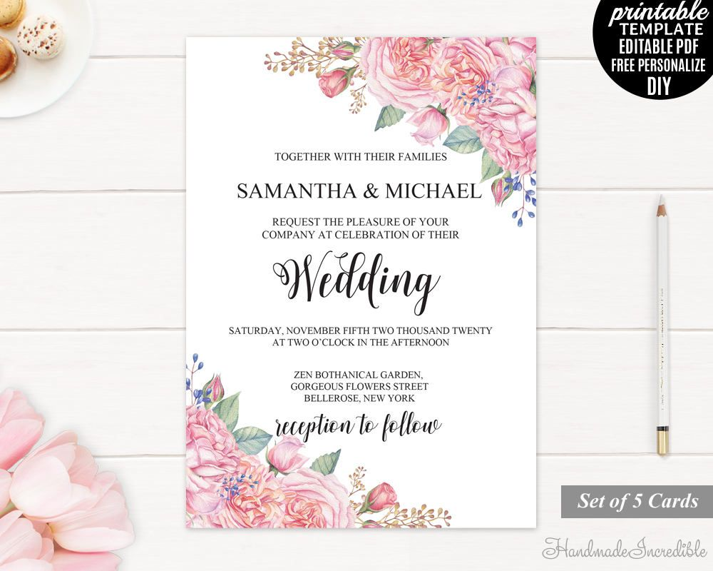Pink flowers kraft paper save the date cards Foiling available