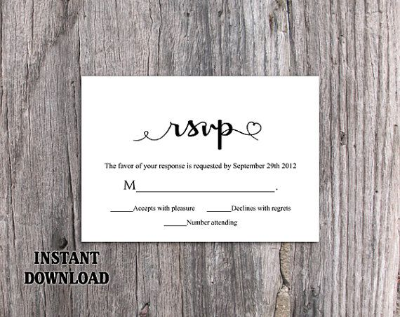 DIY Wedding RSVP Template Download Printable Wedding Rsvp Cards