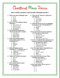 Printable Christmas Trivia.