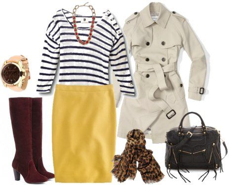 work attire | striped top, yellow pencil skirt & animal print scarf {lily's style}