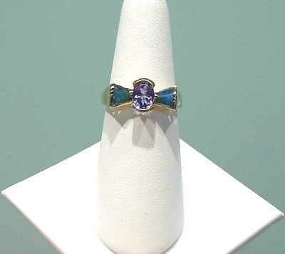 OVAL CUT TANZANITE INLAY OPAL RING SET IN 14K SOLID YELLOW GOLD