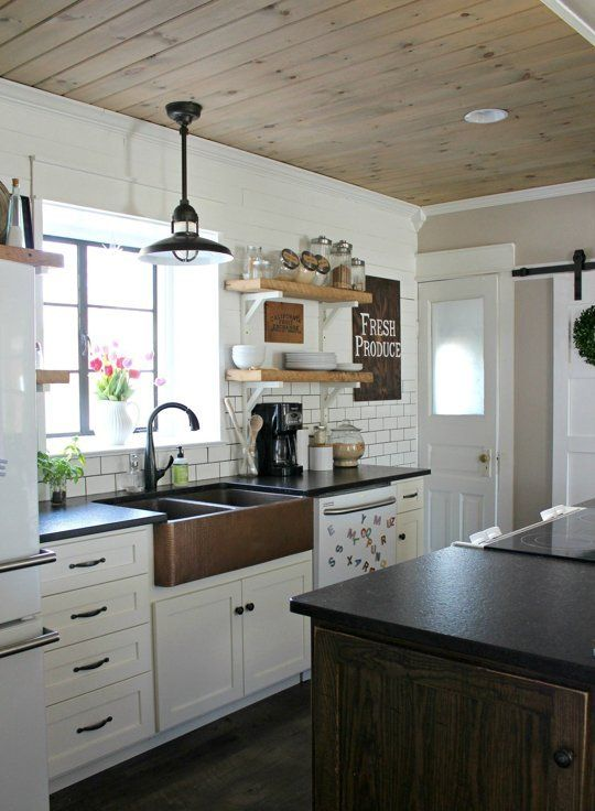 Diy Wood Planked Ceiling Farmhouse Kitchen Decor Farmhouse Sink Kitchen Rustic Kitchen Sinks