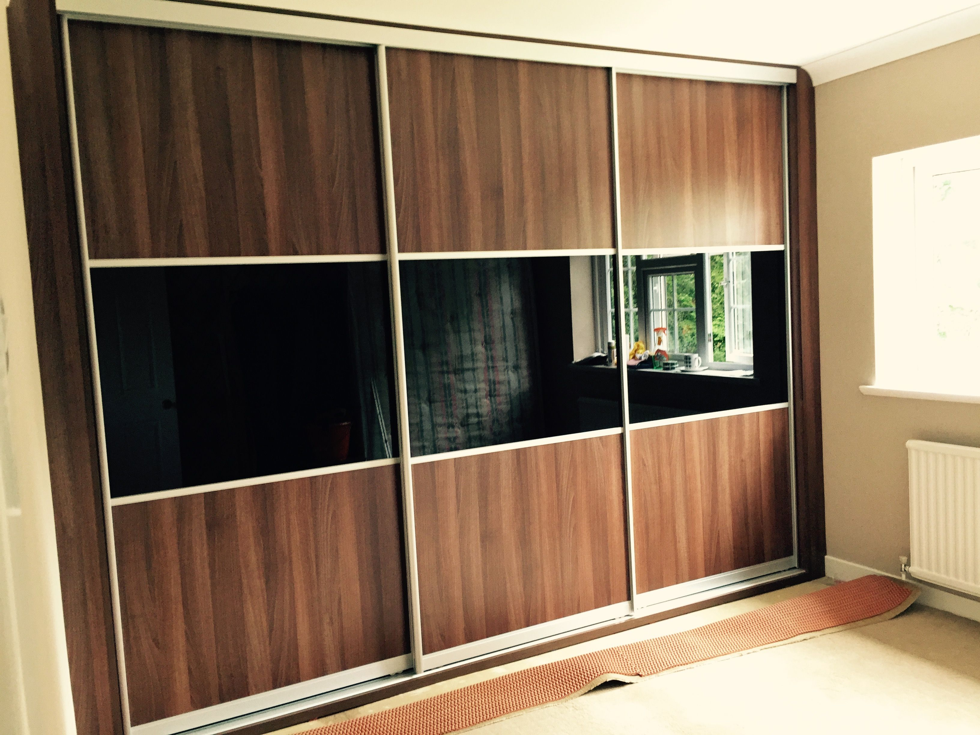 Tobacco Aida Walnut And Black Glass Wardrobe Recent Wardrobe
