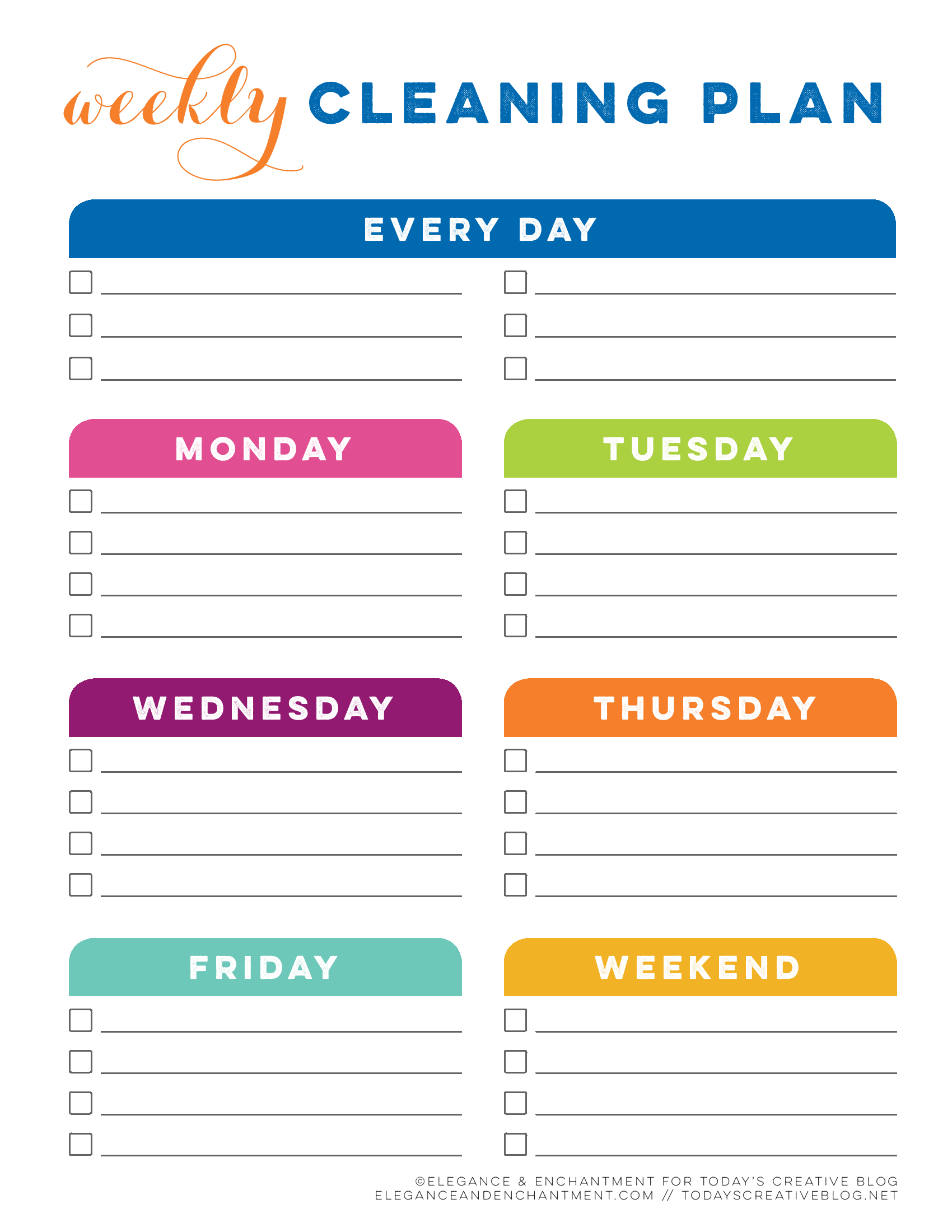 Tcb Printable Cleaning Planner