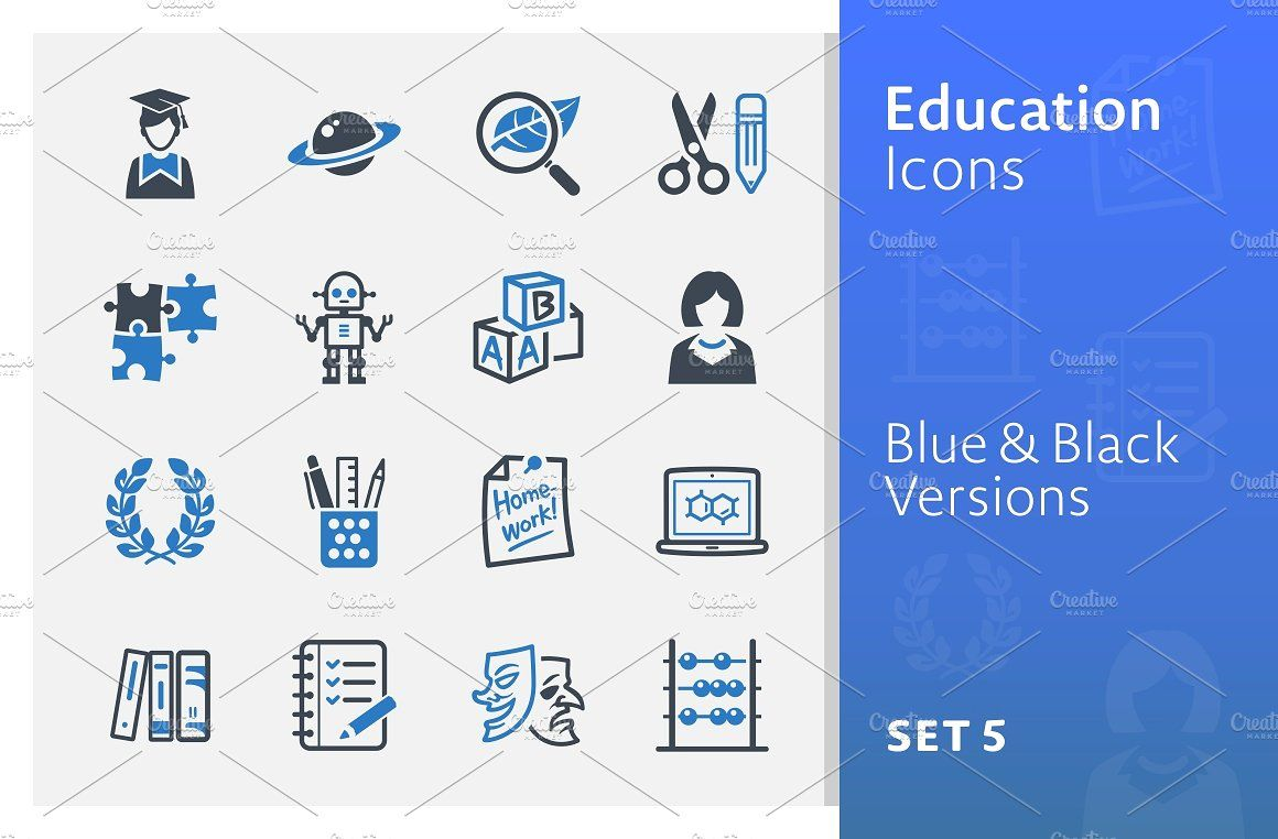 Education Icons Set 5 Blue Series With Images Education Icon