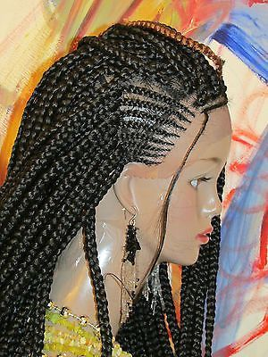 Fully Braided WHOLE LACE WIG Box braids 1 Black Long 24