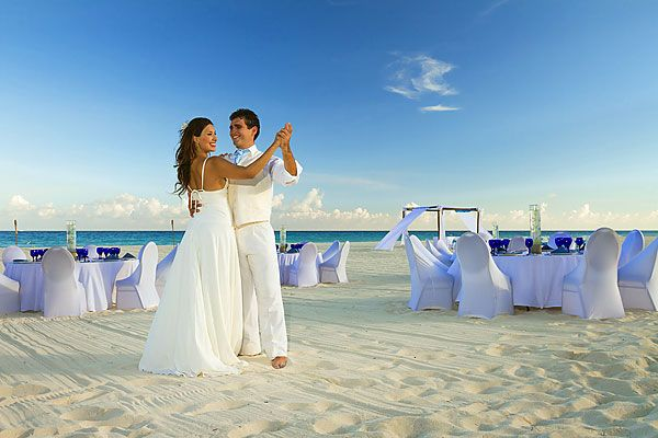Reception On Th Beach At Sunset Sandos Playacar Wedding Pictures