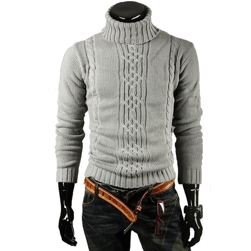jujuland 2017 Male Brand Casual Slim Sweaters Men Solid High Lapel Jacquard  Hedging Men'S Sweater Male