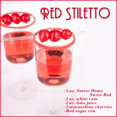 Red stiletto wine cocktail made with sutter home sweet for Cocktail recipes with white wine