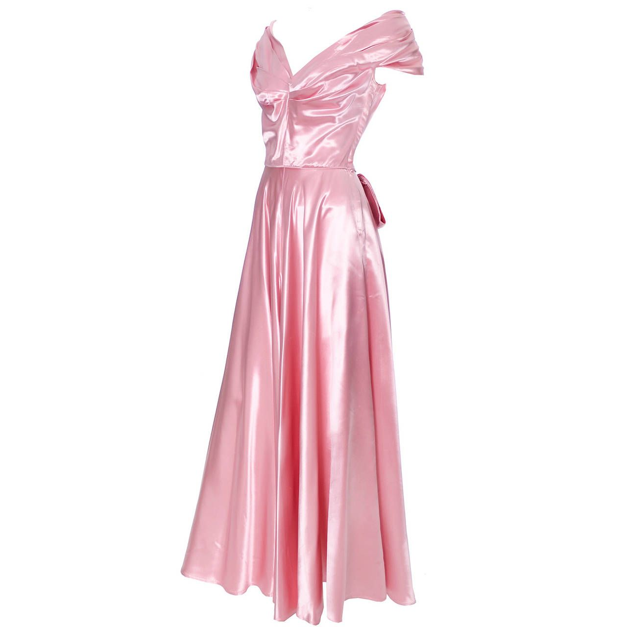 Emma Domb Formal Vintage Dress 1940s Slipper Satin Pink Evening Gown ...