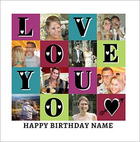 Essentials birthday card multi photo upload love you square essentials birthday card multi photo upload love you square bookmarktalkfo Choice Image