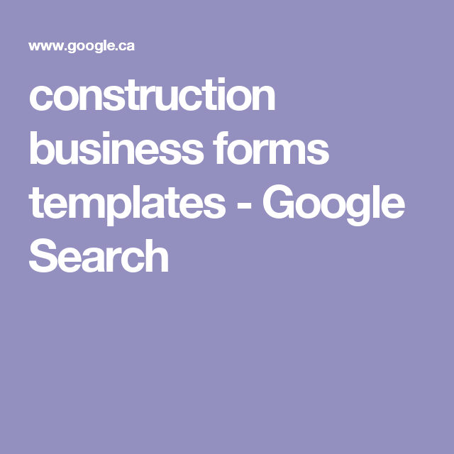 Construction Business Forms Templates Google Search Buisness - Construction business forms templates
