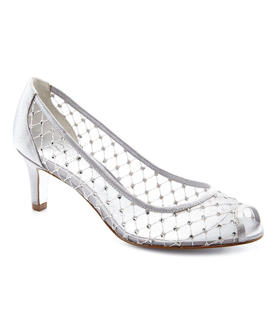 a6bf940f6def Silver Adrianna Papell Jamie Jeweled Mesh Peep-Toe Pumps