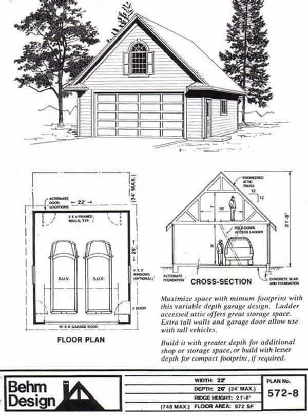 Colonial Style Two Car Garage With Attic Truss Roof Plan 572-8 22' x