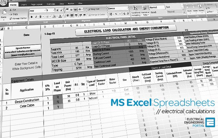 Electrical Tools - MS Excel Spreadsheets | Electrical in 2019
