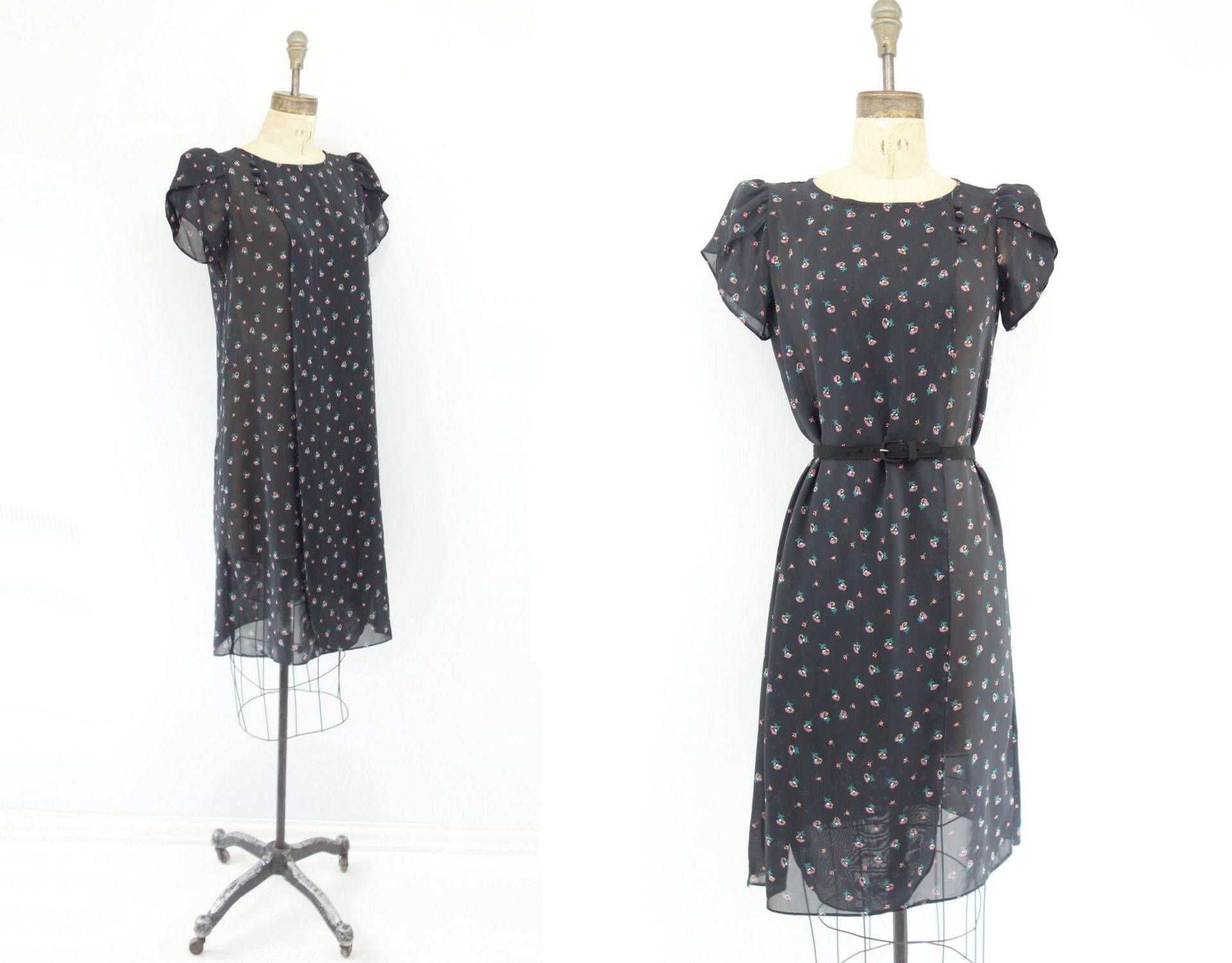 342d0485ffd Black Floral Dress Vintage 80s Dress 80s Party Dress Puff Sleeve Dress 80s  Summer Dress Sheer
