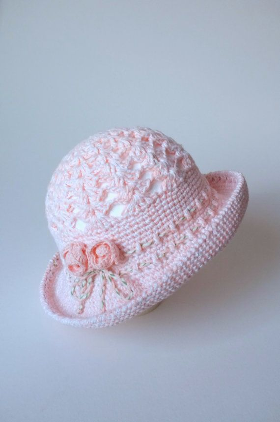 Crochet Baby Girls Sun Hat Toddler Summer Hat Cotton Pink Panama ... e76570fdeda