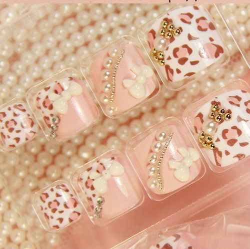 Leopard Print Fake Nail Designs Animal Print Nails Pinterest
