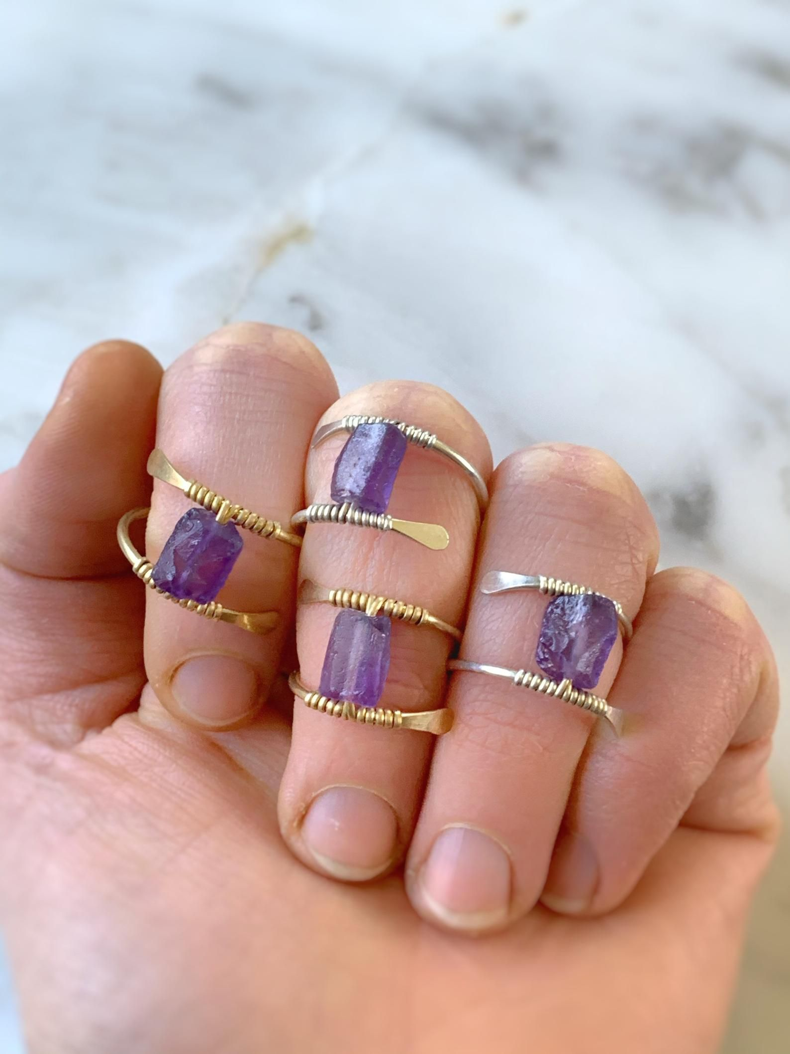 Different Designs Crystal Rings Polished Amethyst Statement Ring Crystal Jewelry Amethyst Silver Rings Semi-Precious Stone Jewelry