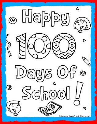 100th Day Of School Printable Coloring Page Song Kiboomu Kids