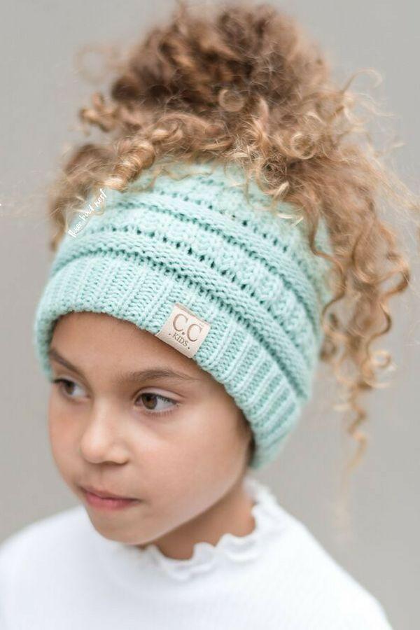 Girls\' Messy Bun Beanie Hat - Mint   Patrones, Varios y Ideas