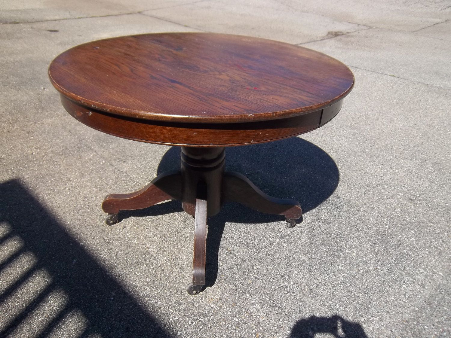 Antique Round Dark Wood Dining Table From H. Early 1900 U0027 S Photos And  Information In AncientPoint