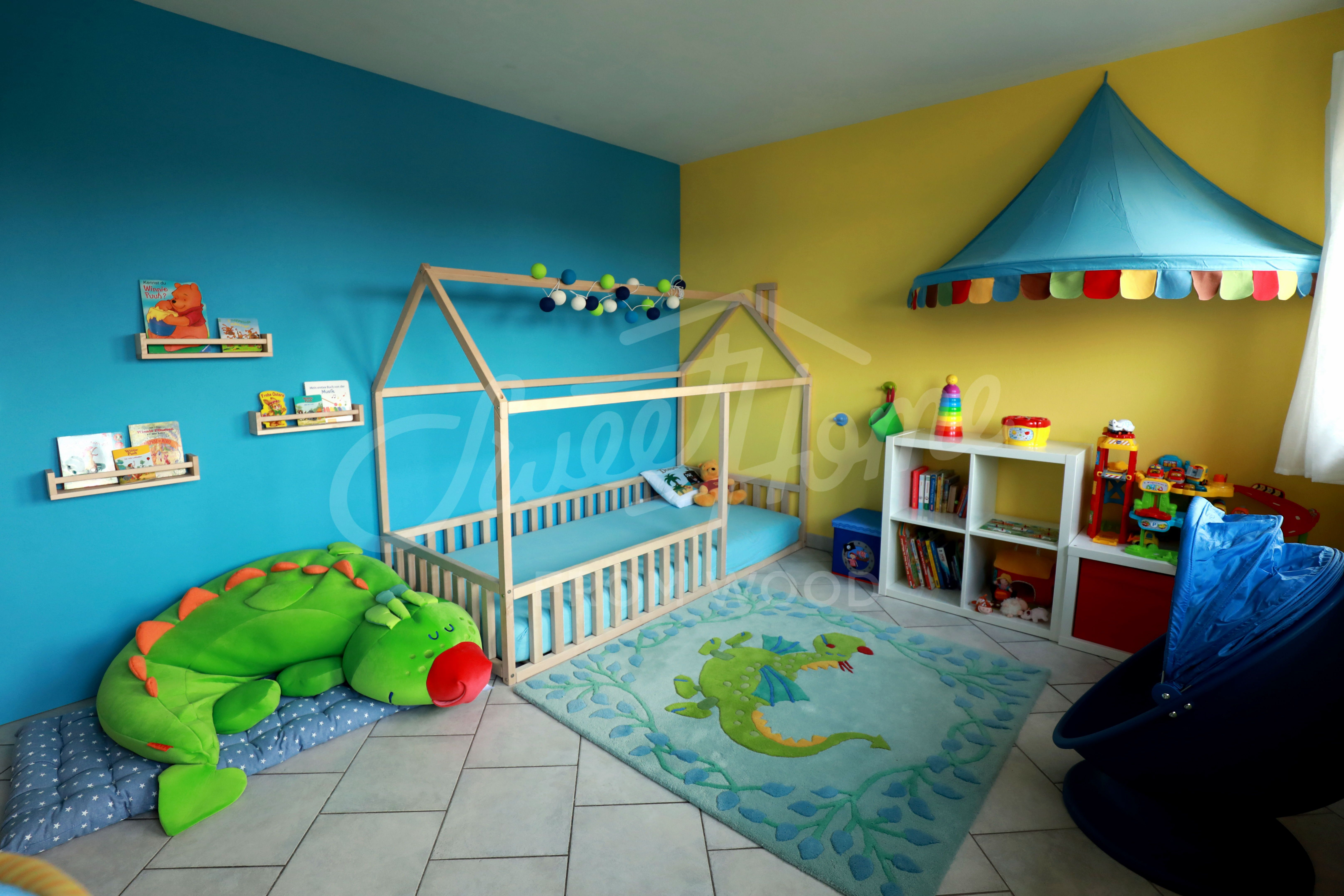 Blue And Yellow Jungle Themed Kids Room, Toddler Bed Twin