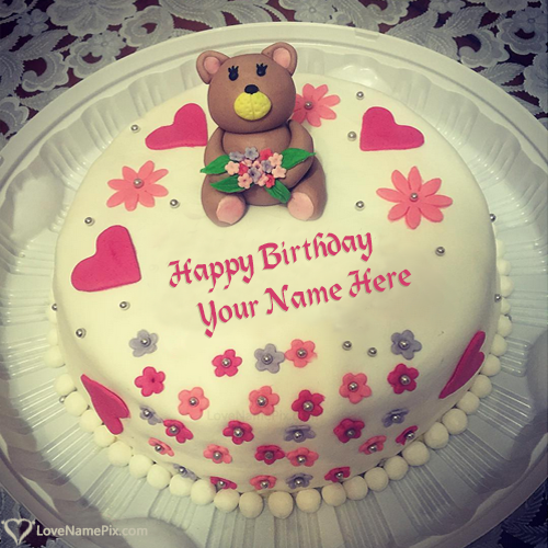 Cute Teddy Bear Happy Birthday Cake For Girls Name Generator
