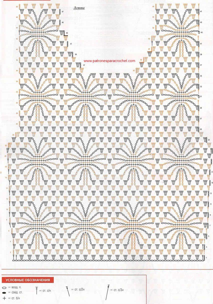 Patrones de blusa crochet en punto araña y punto piñas | tejidos ...