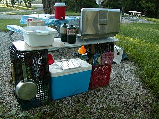 Easy camp kitchen 4 milk crates cooler and top camping for Outdoor camping kitchen ideas