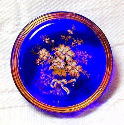 VIVID COBALT BLUE TRANSPARENT GLASS BUTTON w/SWEET WHITE & GOLD ENAMEL POSIES