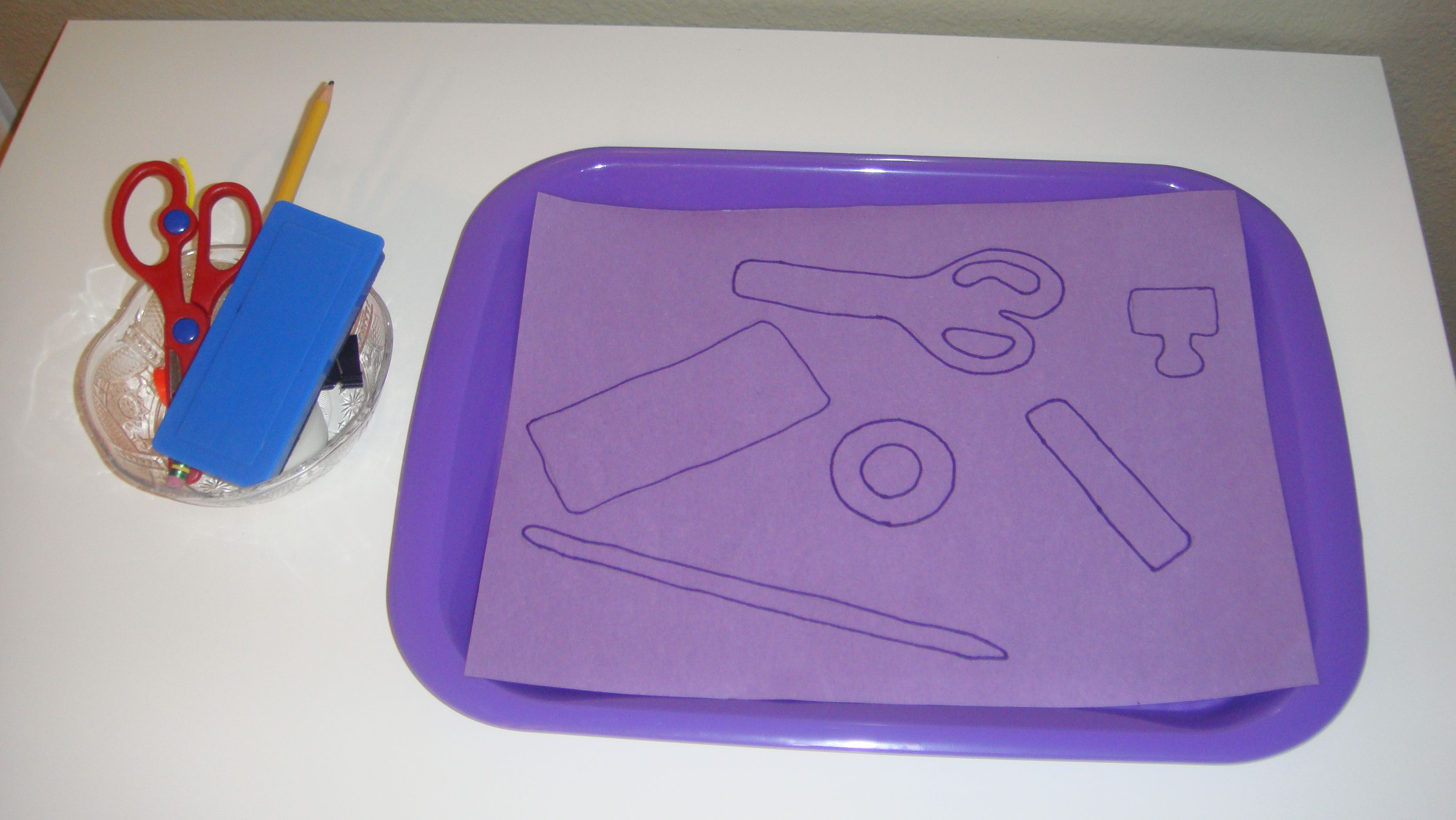 Toddler School Tray Shape Matching Trace Objects On