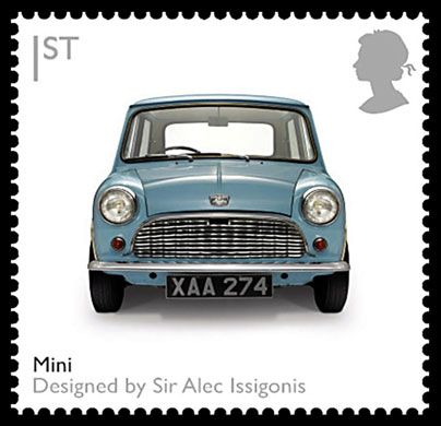 The first Mini rolled off production lines 50 years ago. Sir Alec Issigonis's revolutionary car became an icon of the 60s and remains one of the most striking and familiar pieces of British design   Photograph: Royal Mail/PA