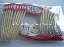 20 CUPCAKE FLAGS/TOPPERS - CHARLIE AND LOLA CHILDRENS BIRTHDAY PARTY