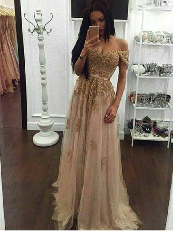 5f1fe870f243 Long Champagne Prom Dress, Gold Sequin Prom Dress, Off The Shoulder Prom  Dress,