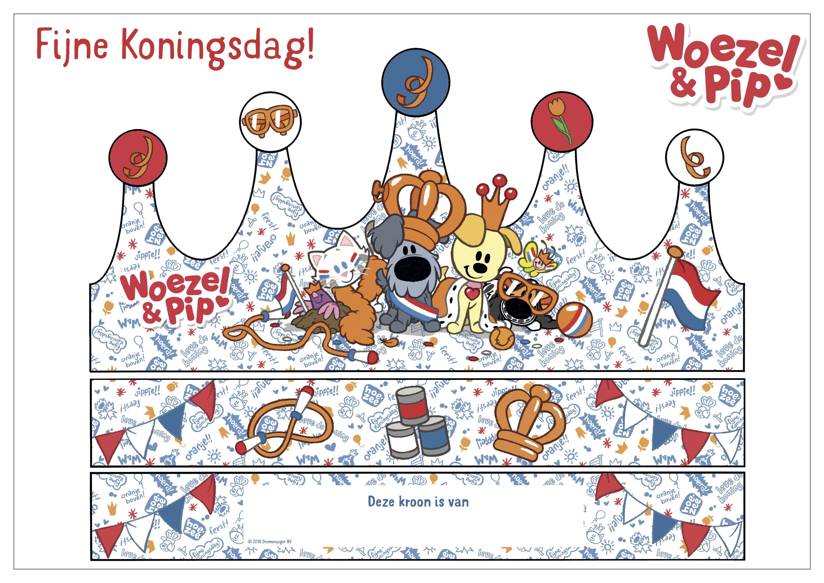 Woezel Pip Koningsdag Kroon Knutselplaat Dieren Knutselen Thema Kinderknutsels